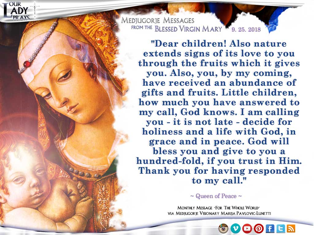 Medjugorje Message from the Blessed Virgin Mary, September 25, 2018